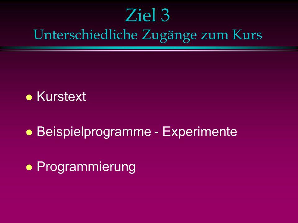 Ziel 3 Unterschiedliche Zugänge zum Kurs l Kurstext l Beispielprogramme - Experimente l Programmierung