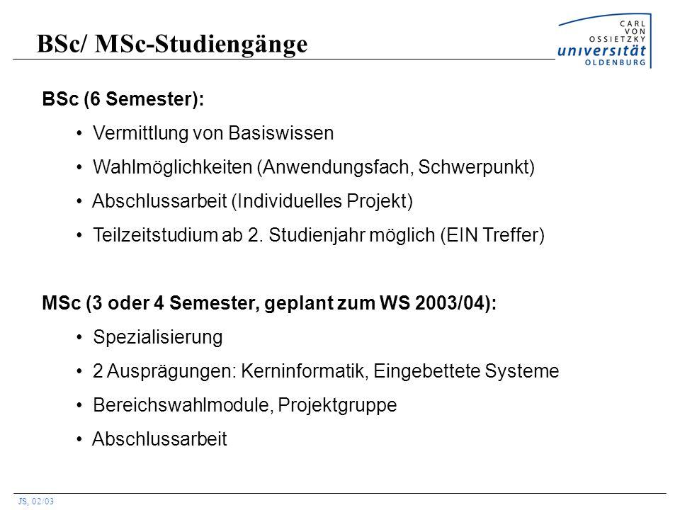 JS, 02/03 BSc/ MSc-Studiengänge BSc (6 Semester): Vermittlung von Basiswissen Wahlmöglichkeiten (Anwendungsfach, Schwerpunkt) Abschlussarbeit (Individ