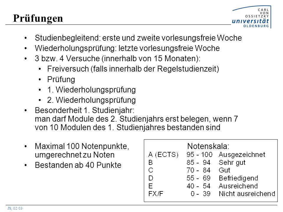 JS, 02/03 Prüfungen Studienbegleitend: erste und zweite vorlesungsfreie Woche Wiederholungsprüfung: letzte vorlesungsfreie Woche 3 bzw. 4 Versuche (in
