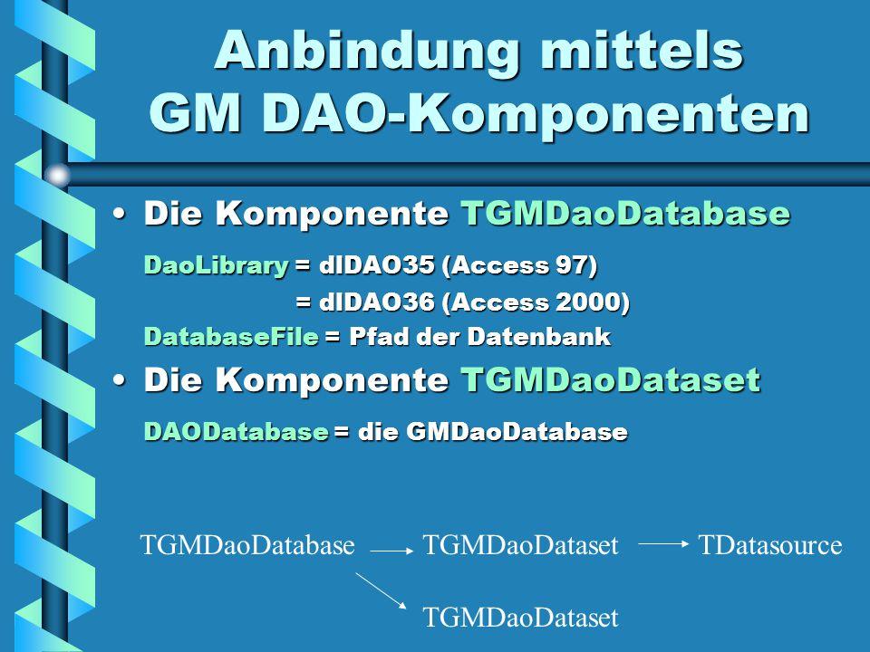 Anbindung mittels GM DAO-Komponenten Die Komponente TGMDaoDatabaseDie Komponente TGMDaoDatabase DaoLibrary = dlDAO35 (Access 97) = dlDAO36 (Access 2000) = dlDAO36 (Access 2000) DatabaseFile = Pfad der Datenbank Die Komponente TGMDaoDatasetDie Komponente TGMDaoDataset DAODatabase = die GMDaoDatabase TGMDaoDatabaseTGMDaoDataset TDatasource