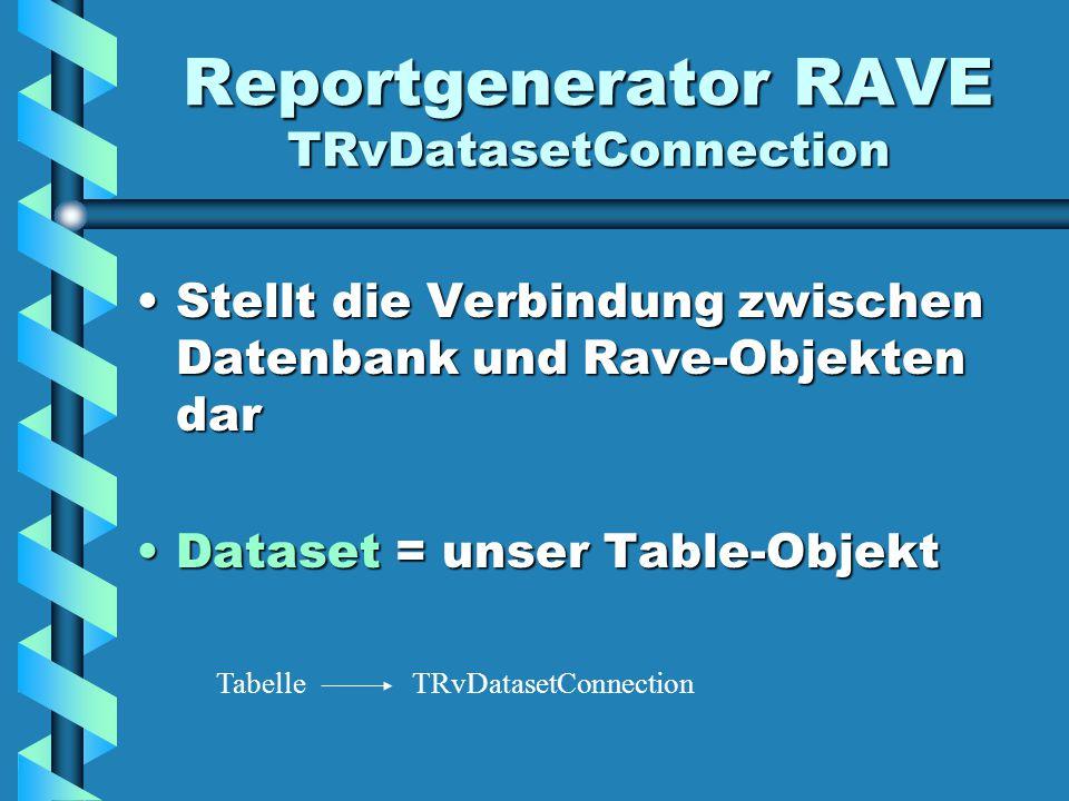 Reportgenerator RAVE TRvDatasetConnection Stellt die Verbindung zwischen Datenbank und Rave-Objekten darStellt die Verbindung zwischen Datenbank und Rave-Objekten dar Dataset = unser Table-ObjektDataset = unser Table-Objekt TRvDatasetConnectionTabelle