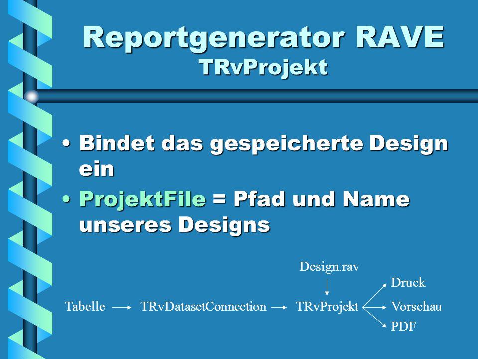 Reportgenerator RAVE TRvProjekt Bindet das gespeicherte Design einBindet das gespeicherte Design ein ProjektFile = Pfad und Name unseres DesignsProjektFile = Pfad und Name unseres Designs TRvDatasetConnectionTabelleTRvProjekt Design.rav Druck Vorschau PDF