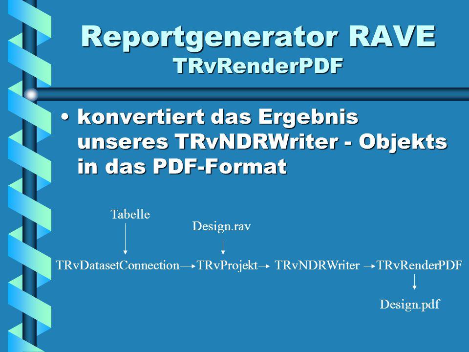 Reportgenerator RAVE TRvRenderPDF konvertiert das Ergebnis unseres TRvNDRWriter - Objekts in das PDF-Formatkonvertiert das Ergebnis unseres TRvNDRWriter - Objekts in das PDF-Format TRvDatasetConnection Tabelle TRvProjekt Design.rav TRvNDRWriterTRvRenderPDF Design.pdf