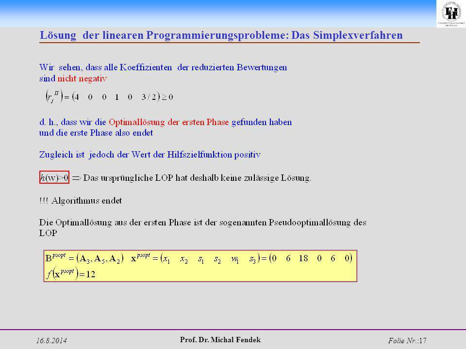 16.8.2014 Prof. Dr. Michal Fendek Folie Nr.:17 Lösung der linearen Programmierungsprobleme: Das Simplexverfahren