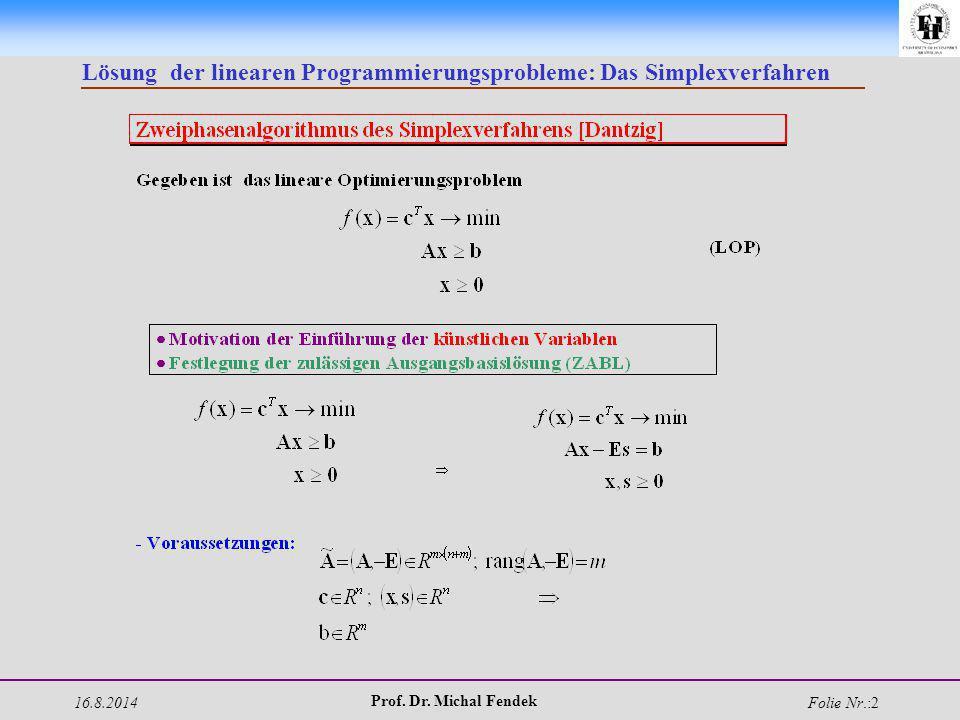 16.8.2014 Prof. Dr. Michal Fendek Folie Nr.:2 Lösung der linearen Programmierungsprobleme: Das Simplexverfahren