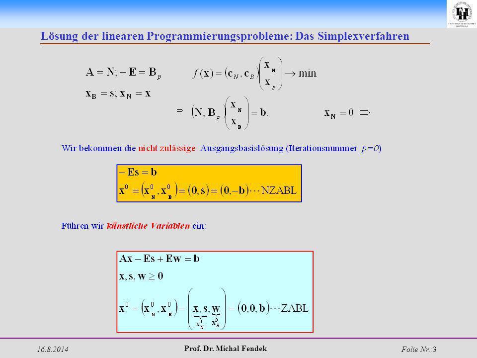 16.8.2014 Prof. Dr. Michal Fendek Folie Nr.:3 Lösung der linearen Programmierungsprobleme: Das Simplexverfahren