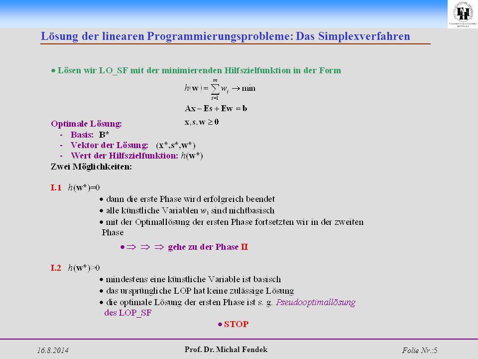 16.8.2014 Prof. Dr. Michal Fendek Folie Nr.:5 Lösung der linearen Programmierungsprobleme: Das Simplexverfahren