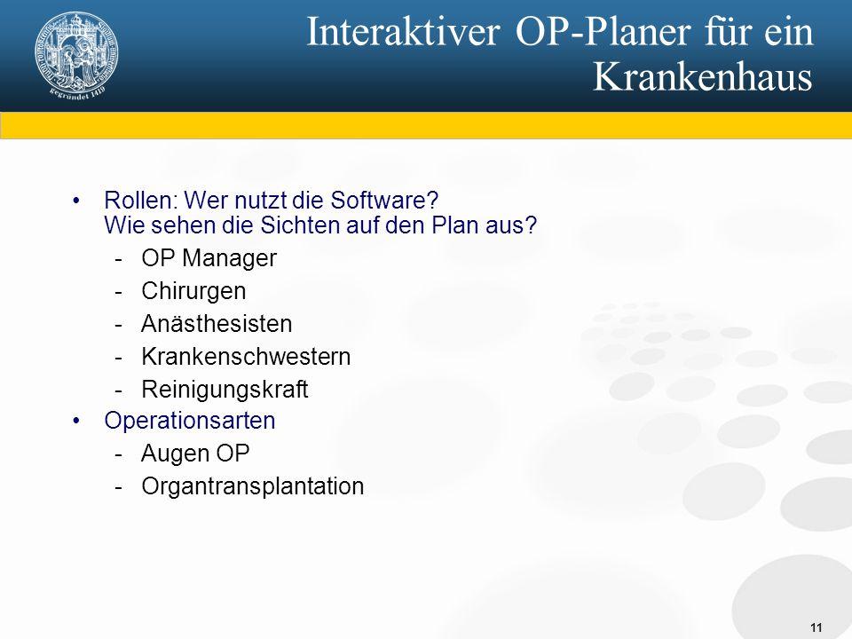 11 Interaktiver OP-Planer für ein Krankenhaus Rollen: Wer nutzt die Software.