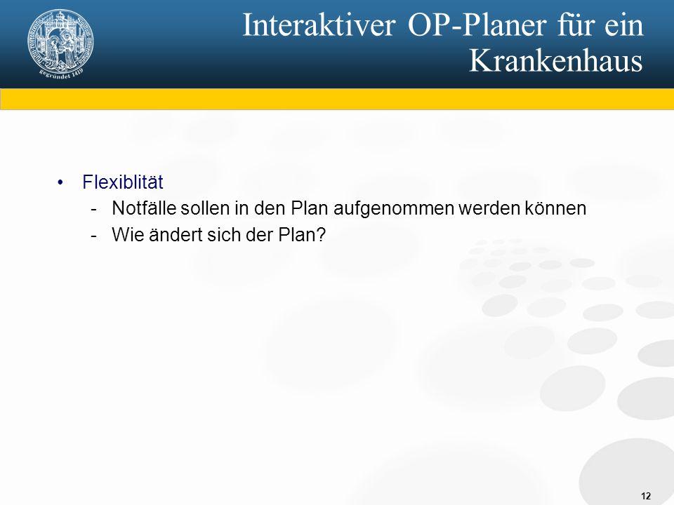 12 Interaktiver OP-Planer für ein Krankenhaus Flexiblität - Notfälle sollen in den Plan aufgenommen werden können - Wie ändert sich der Plan?