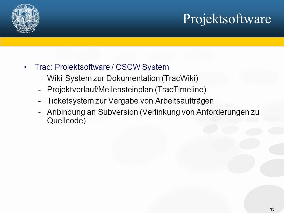 15 Projektsoftware Trac: Projektsoftware / CSCW System - Wiki-System zur Dokumentation (TracWiki) - Projektverlauf/Meilensteinplan (TracTimeline) - Ticketsystem zur Vergabe von Arbeitsaufträgen - Anbindung an Subversion (Verlinkung von Anforderungen zu Quellcode)