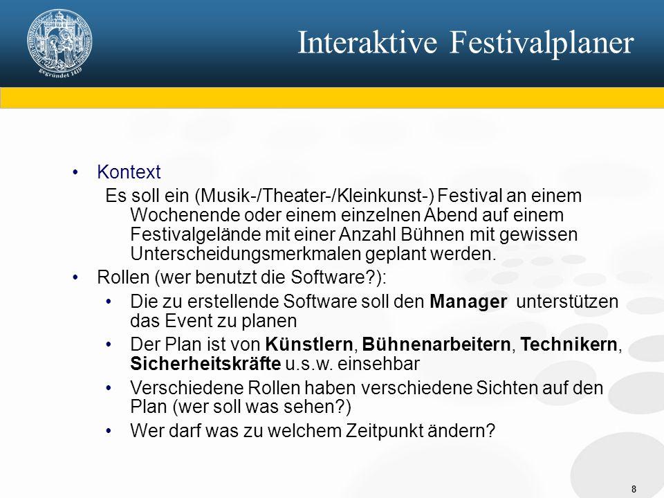 8 Interaktive Festivalplaner Kontext Es soll ein (Musik-/Theater-/Kleinkunst-) Festival an einem Wochenende oder einem einzelnen Abend auf einem Festivalgelände mit einer Anzahl Bühnen mit gewissen Unterscheidungsmerkmalen geplant werden.