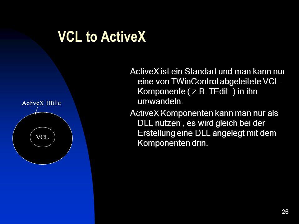 25 ActiveX ( allgemein ) ActiveX basiert auf COM Standart von Microsoft.