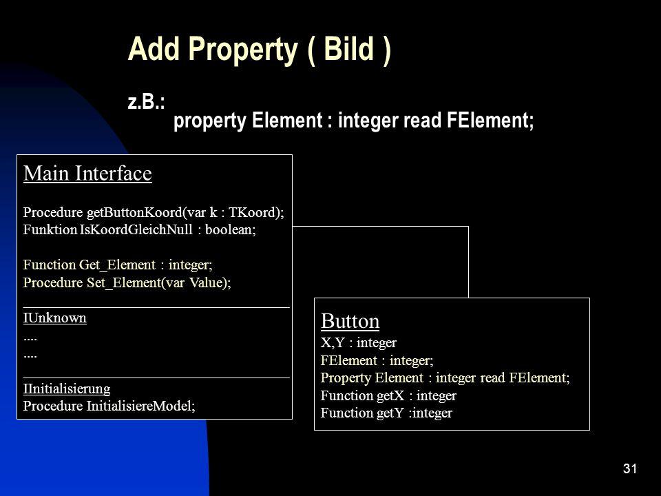 30 Die Interface Methoden greifen auf die eingebetten Objekte mittels Instancen : FDelphiControl : TEdit; // VCL Control Instance FEvents : ItestEditXEvents; // Beschreibt den Events Interface für Clients, die die Komponente nacher nutzen.