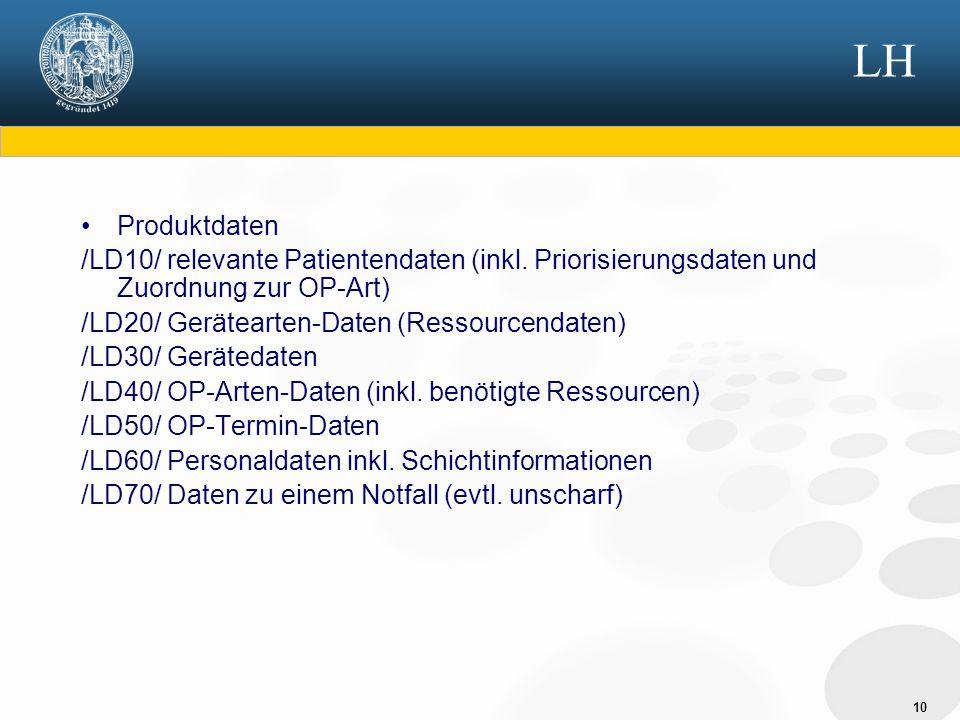 10 LH Produktdaten /LD10/ relevante Patientendaten (inkl. Priorisierungsdaten und Zuordnung zur OP-Art) /LD20/ Gerätearten-Daten (Ressourcendaten) /LD