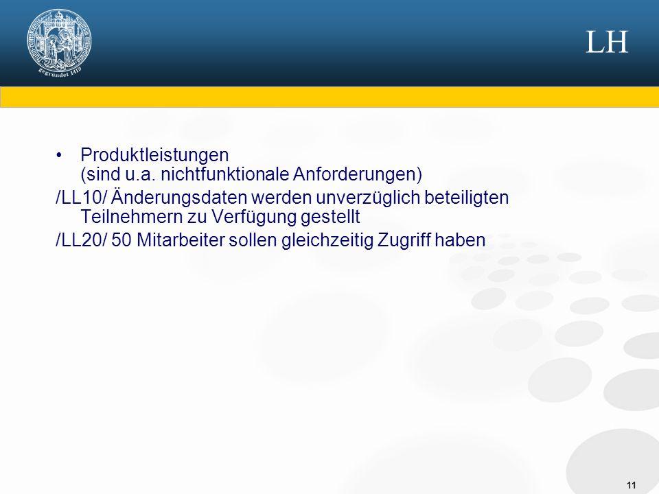11 LH Produktleistungen (sind u.a. nichtfunktionale Anforderungen) /LL10/ Änderungsdaten werden unverzüglich beteiligten Teilnehmern zu Verfügung gest