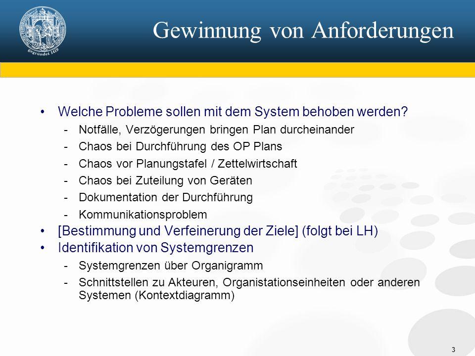 3 Gewinnung von Anforderungen Welche Probleme sollen mit dem System behoben werden? - Notfälle, Verzögerungen bringen Plan durcheinander - Chaos bei D