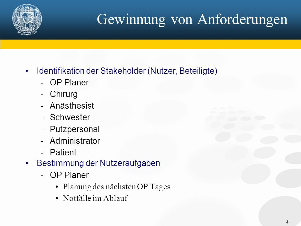 4 Gewinnung von Anforderungen Identifikation der Stakeholder (Nutzer, Beteiligte) - OP Planer - Chirurg - Anästhesist - Schwester - Putzpersonal - Adm