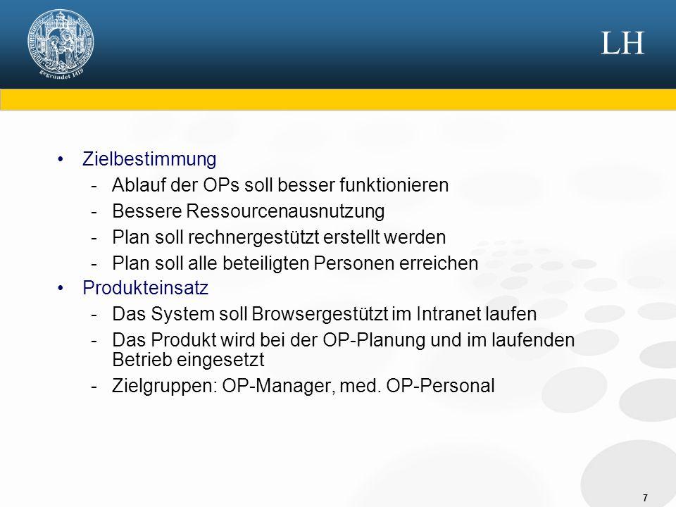 8 LH Produktübersicht Planungssystem Krankenhaus Personal Patienten [auf Station] Patienten [in Notfallaufnahme] OP-Trakt Saal1Saal2Saal3 Gerätepool G1G2G3