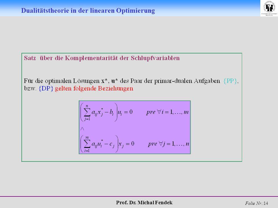 Prof. Dr. Michal Fendek Folie Nr.:14 Dualitätstheorie in der linearen Optimierung