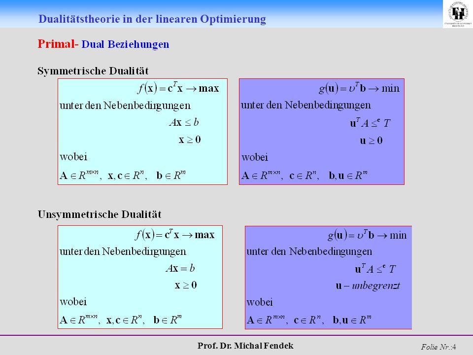 Prof. Dr. Michal Fendek Folie Nr.:5 Dualitätstheorie in der linearen Optimierung
