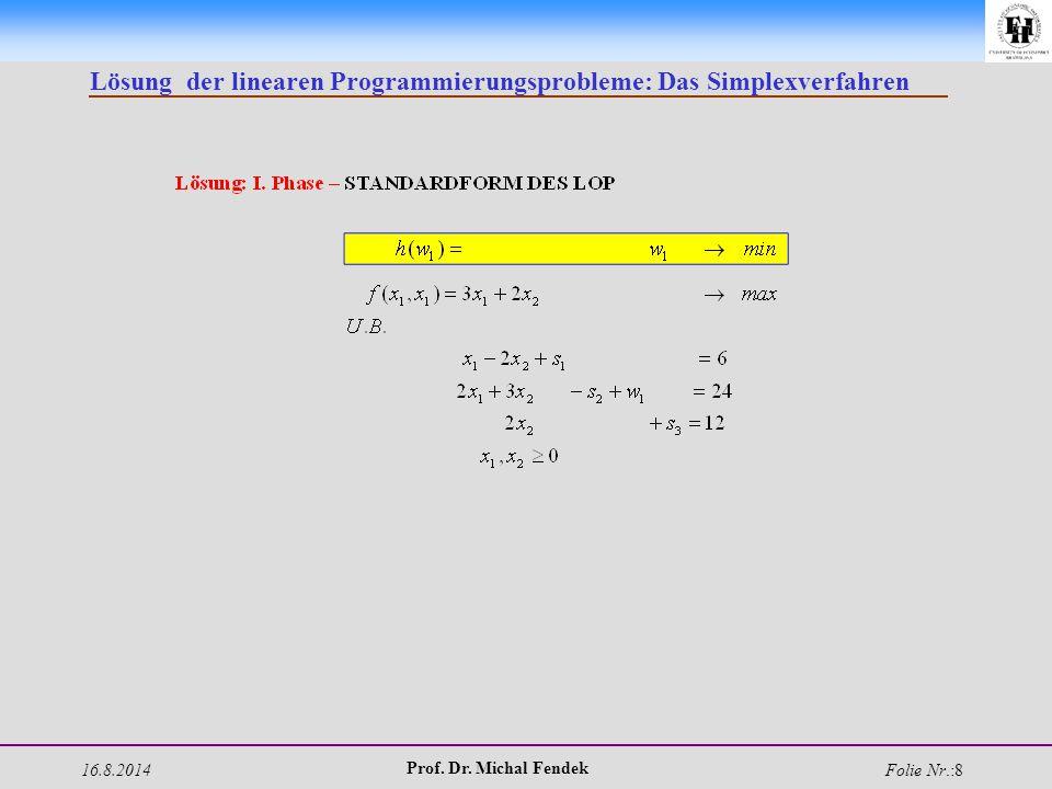 16.8.2014 Prof. Dr. Michal Fendek Folie Nr.:8 Lösung der linearen Programmierungsprobleme: Das Simplexverfahren