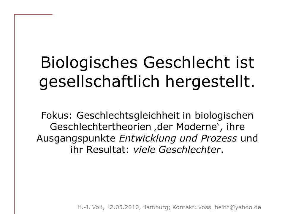 H.-J. Voß, 12.05.2010, Hamburg; Kontakt: voss_heinz@yahoo.de Biologisches Geschlecht ist gesellschaftlich hergestellt. Fokus: Geschlechtsgleichheit in