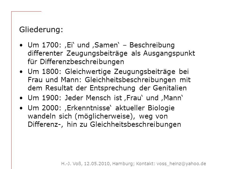 H.-J. Voß, 12.05.2010, Hamburg; Kontakt: voss_heinz@yahoo.de Gliederung: Um 1700: 'Ei' und 'Samen' – Beschreibung differenter Zeugungsbeiträge als Aus