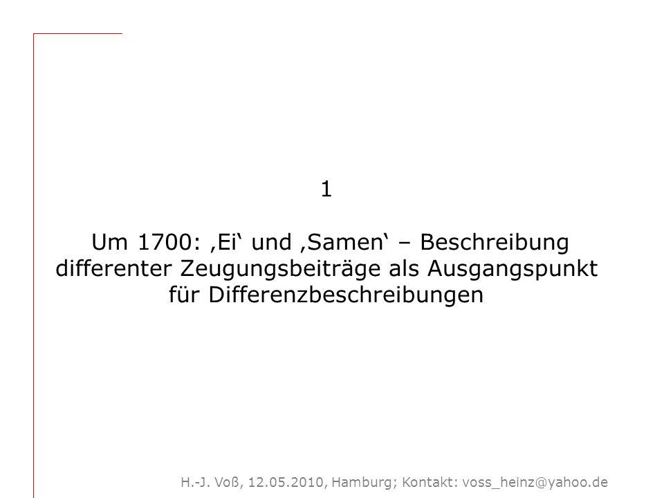 H.-J. Voß, 12.05.2010, Hamburg; Kontakt: voss_heinz@yahoo.de 1 Um 1700: 'Ei' und 'Samen' – Beschreibung differenter Zeugungsbeiträge als Ausgangspunkt