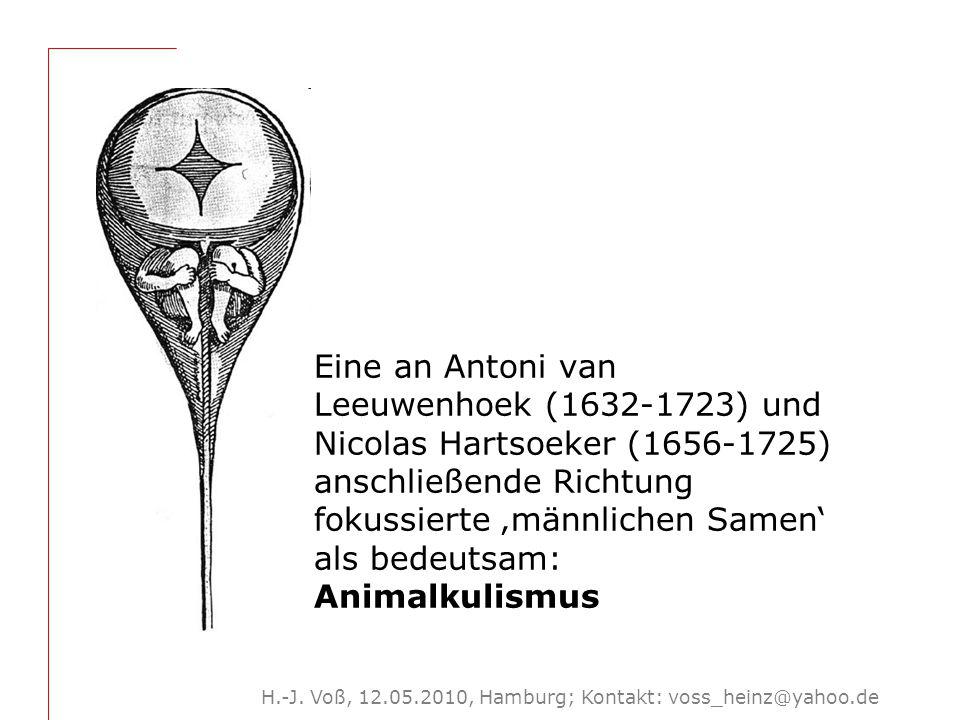 H.-J. Voß, 12.05.2010, Hamburg; Kontakt: voss_heinz@yahoo.de Eine an Antoni van Leeuwenhoek (1632-1723) und Nicolas Hartsoeker (1656-1725) anschließen