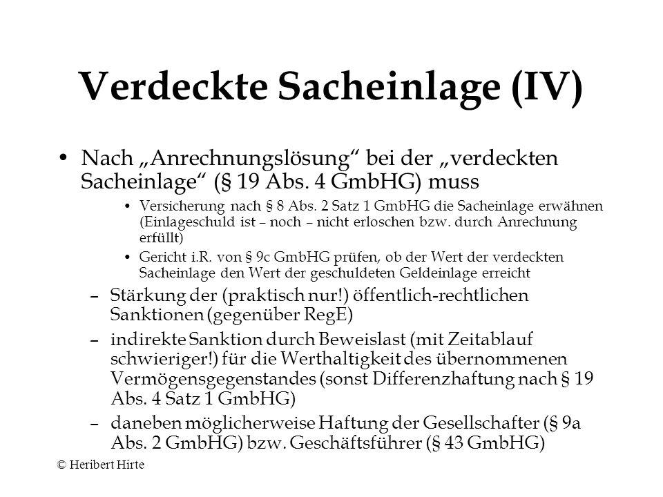 """Verdeckte Sacheinlage (III) Einführung der """"Anrechnungslösung bei der """"ver- deckten Sacheinlage (§ 19 Abs."""