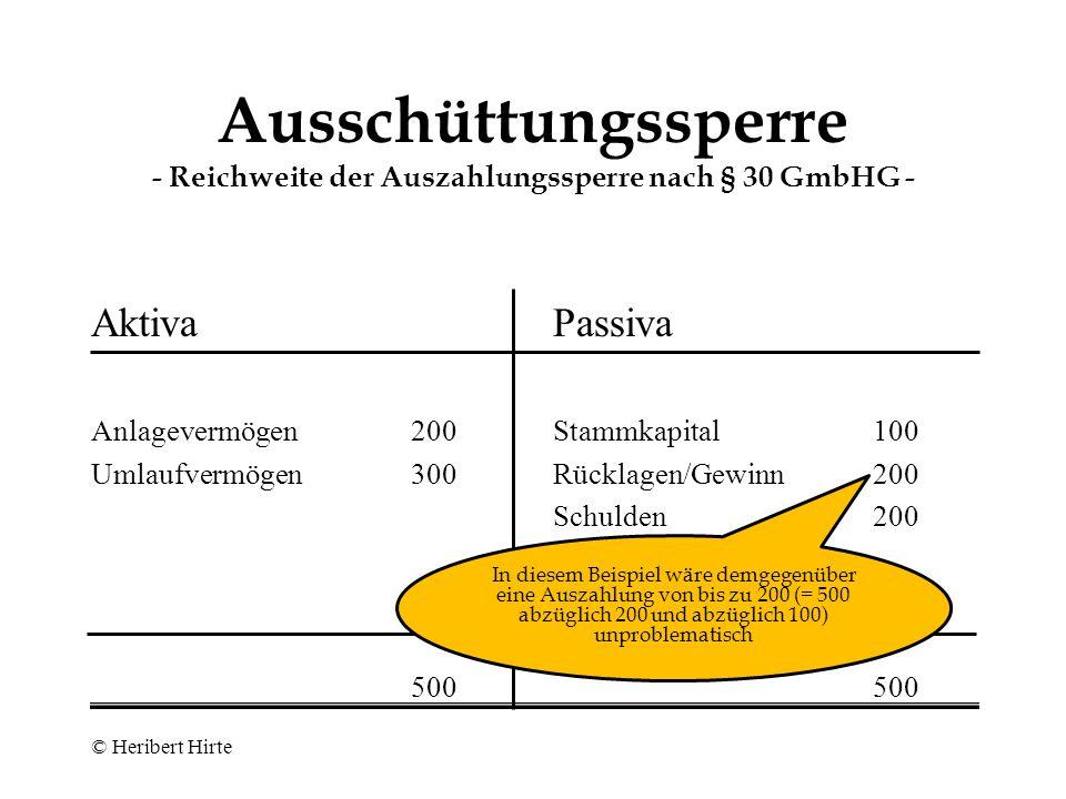 Ausschüttungssperre - Reichweite der Auszahlungssperre nach § 30 GmbHG - Aktiva Anlagevermögen200 Umlaufvermögen300 500 Passiva Stammkapital100 Schulden400 500 Bei einer Auszahlung würde das Netto- vermögen (= Bruttovermögen abzüglich Verbindlichkeiten) auf unter 100 sinken; eine Auszahlung wäre also unzulässig