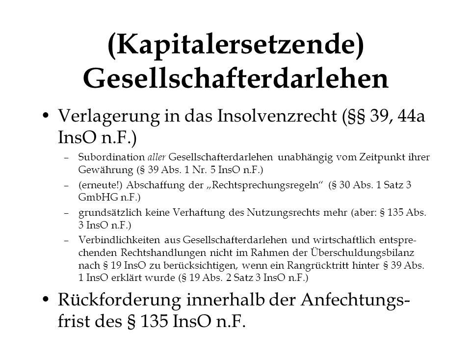 © Heribert Hirte Kapitalersetzende Gesellschafterdarlehen (Schlussrechnung) Aktiva Anlagevermögen200 Umlaufvermögen300 Nicht durch Eigenkapital gedeckter Fehlbetrag700 1200 Passiva Stammkapital100 Verbindlichkeiten - ggü.