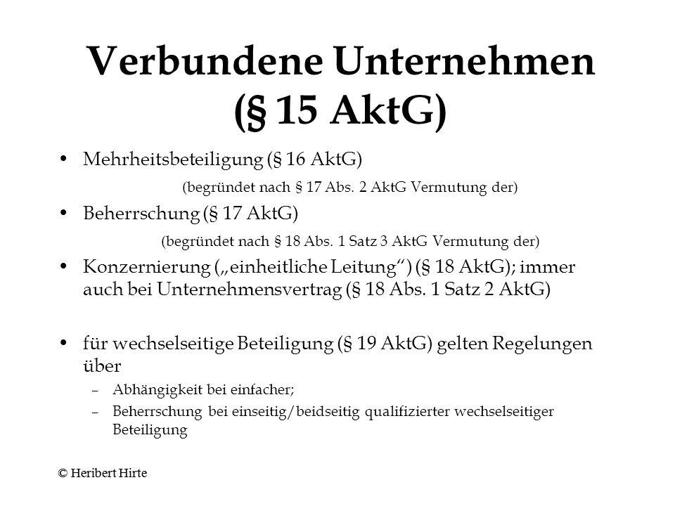 """Interessenbeeinträchtigung im Konzern A 80 % B 80 % 20 % Beteili- gung von 80 % Außenstehende Gesellschafter (für Aktionäre: §§ 304, 305 AktG) Gesellschafter und Gläubiger der Untergesellschaft: Beeinträchtigung durch Gefahr unkontrollierter Vermögensver- schiebungen oder geschäflicher Entscheidungen (""""Fremdsteuerung ) Gläubiger der Obergesellschaft: Beeinträchtigung durch """"strukturellen Nachrang ; Gesellschafter durch """"Mediatisierung ihres Einflusses Wissenszu- rechnung."""