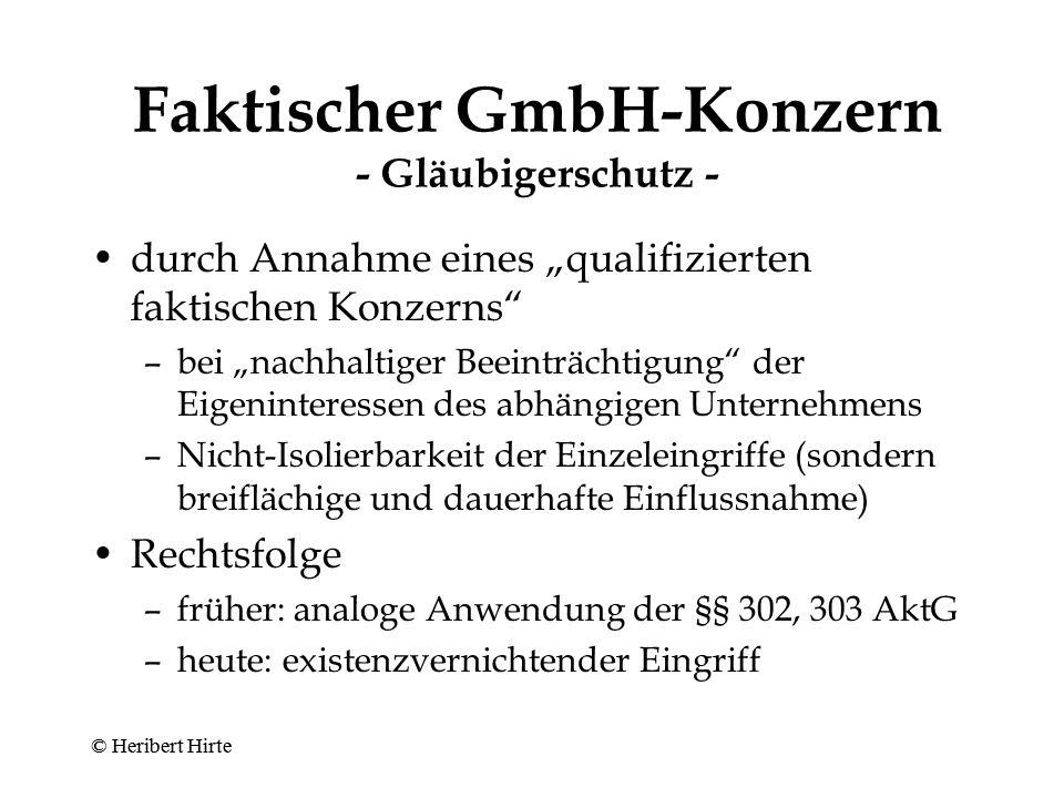 Faktischer GmbH-Konzern - Minderheitenschutz - Ausgangspunkt Weisungsrecht (§ 37 Abs.