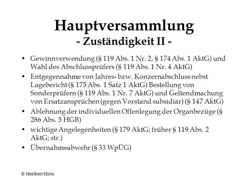 Hauptversammlung - Zuständigkeit I - Geschäftsordnung (§ 129 Abs.