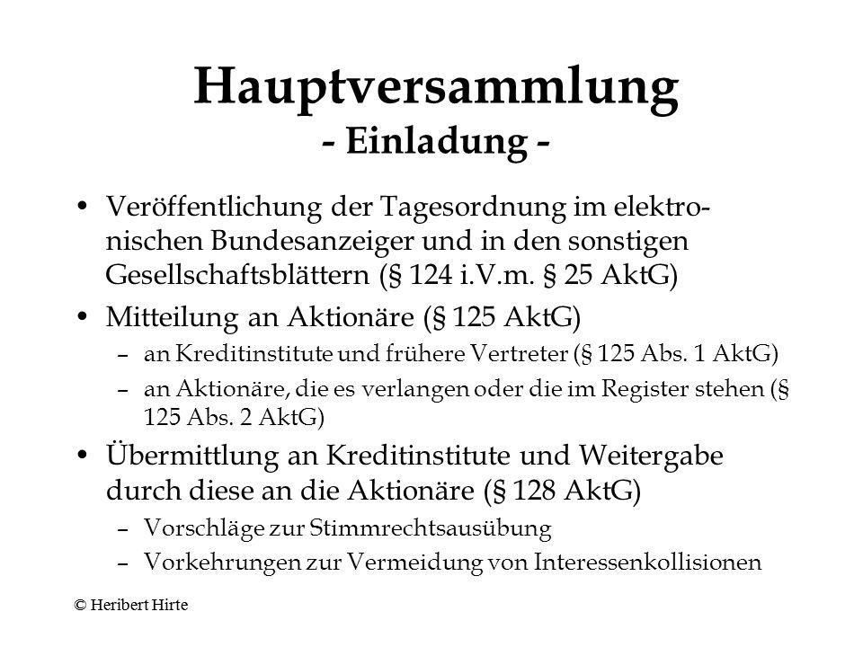 Hauptversammlung - Zuständigkeit II - Gewinnverwendung (§ 119 Abs.