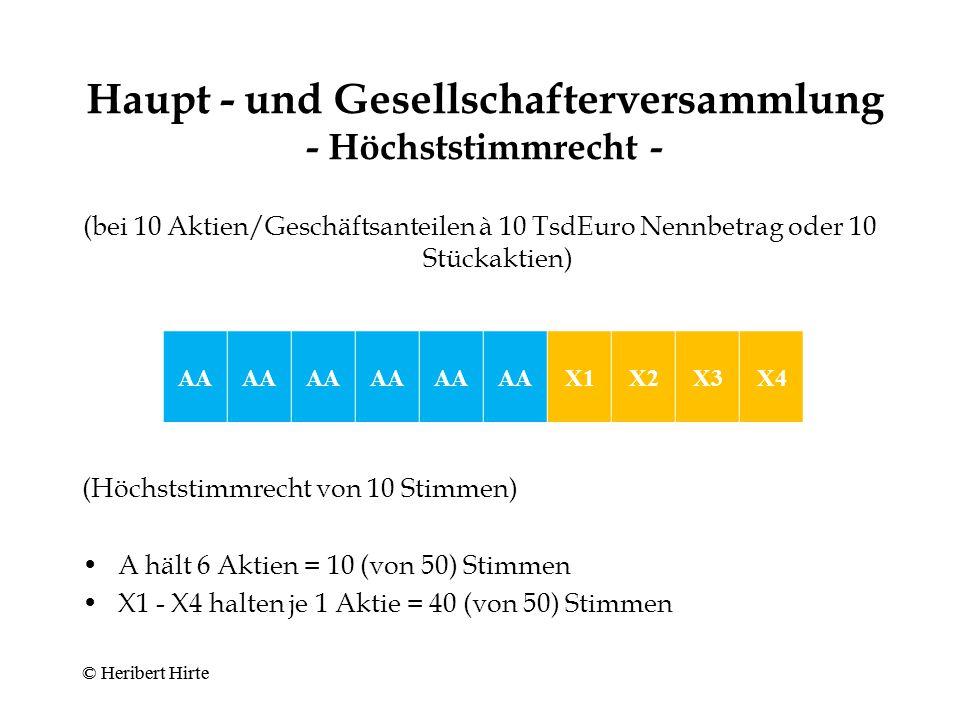 Haupt - und Gesellschafterversammlung - Mehrstimmrecht - (bei 10 Aktien/Geschäftsanteilen à 10 TsdEuro Nennbetrag oder 10 Stückaktien) (MS = 3-faches Stimmrecht) 3 Mehrstimmrechts-Aktien = 90 (von 160) Stimmen 7 Aktien mit einfachem Stimmrecht = 70 (von 160) Stimmen MS © Heribert Hirte