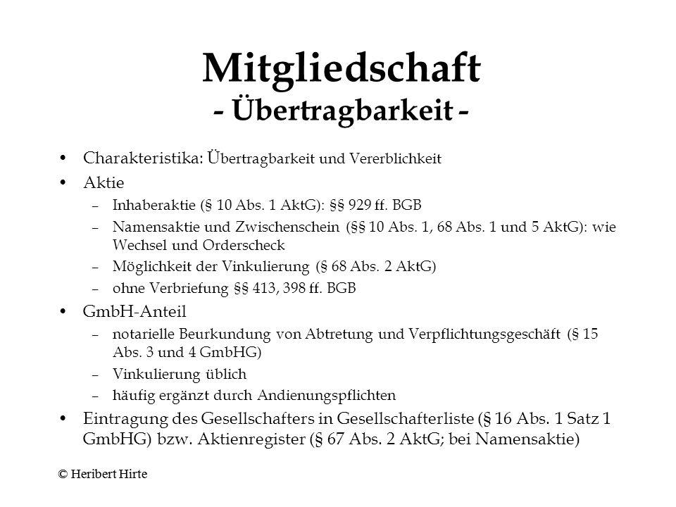 Mitgliedschaft - Pflichten - Einlage (§ 19 Abs.