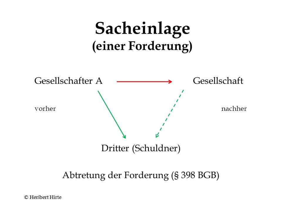 © Heribert Hirte Bareinlage Gesellschafter AGesellschaft Zahlung der Einlage © Heribert Hirte