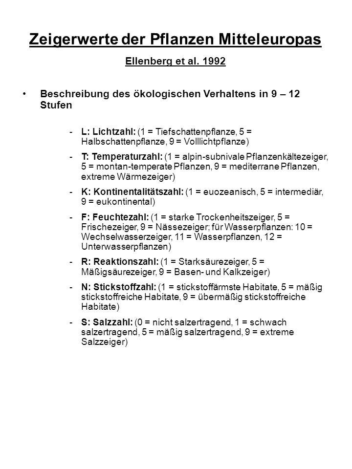 Zeigerwerte der Pflanzen Mitteleuropas Ellenberg et al.