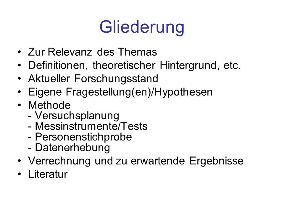 Gliederung Zur Relevanz des Themas Definitionen, theoretischer Hintergrund, etc. Aktueller Forschungsstand Eigene Fragestellung(en)/Hypothesen Methode