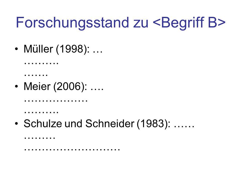 Forschungsstand zu Müller (1998): … ………. ……. Meier (2006): …. ……………… ………. Schulze und Schneider (1983): …… ……… ………………………