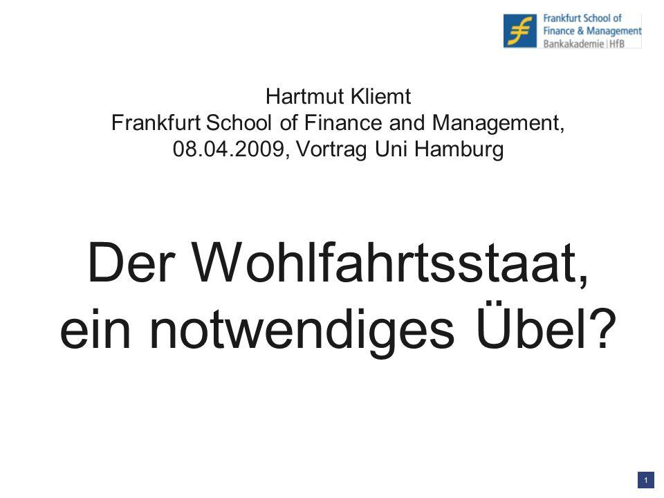1 Hartmut Kliemt Frankfurt School of Finance and Management, 08.04.2009, Vortrag Uni Hamburg Der Wohlfahrtsstaat, ein notwendiges Übel?