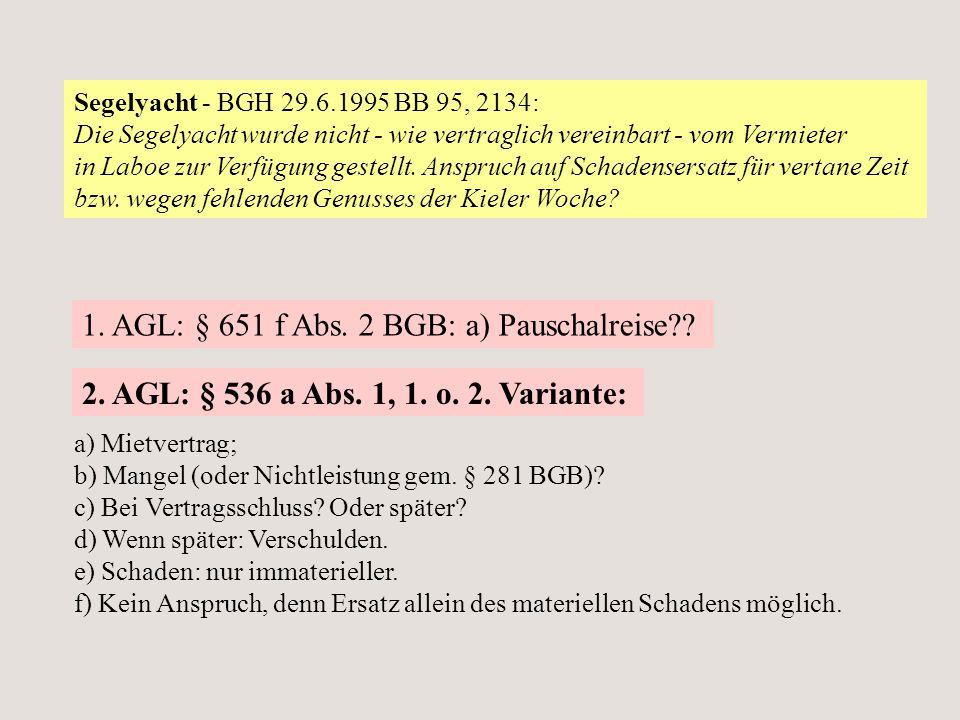 Segelyacht - BGH 29.6.1995 BB 95, 2134: Die Segelyacht wurde nicht - wie vertraglich vereinbart - vom Vermieter in Laboe zur Verfügung gestellt. Anspr
