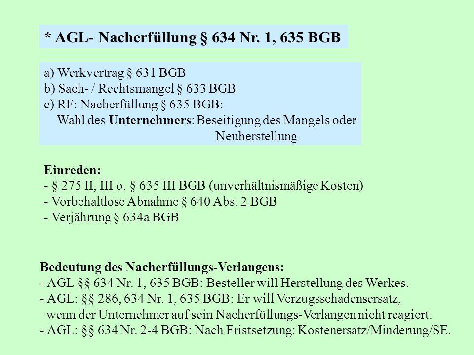 a) Werkvertrag § 631 BGB b) Sach- / Rechtsmangel § 633 BGB c) RF: Nacherfüllung § 635 BGB: Wahl des Unternehmers: Beseitigung des Mangels oder Neuhers