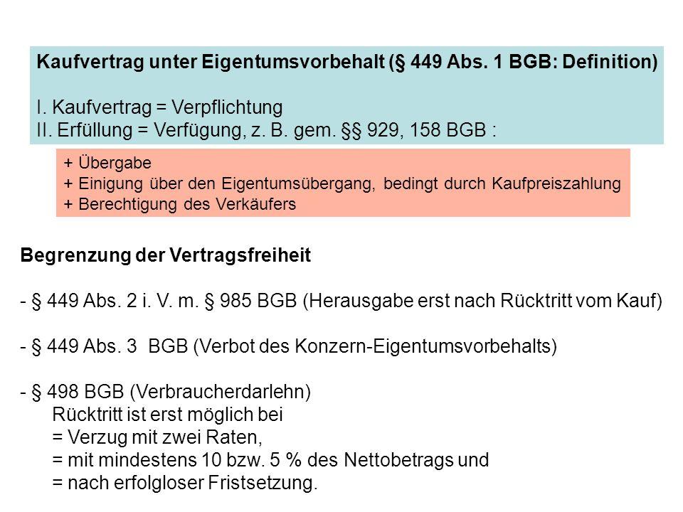 Begrenzung der Vertragsfreiheit - § 449 Abs. 2 i. V. m. § 985 BGB (Herausgabe erst nach Rücktritt vom Kauf) - § 449 Abs. 3 BGB (Verbot des Konzern-Eig