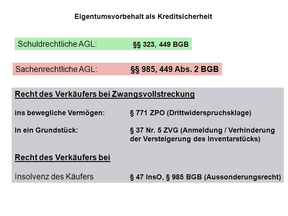Schuldrechtliche AGL: §§ 323, 449 BGB Eigentumsvorbehalt als Kreditsicherheit Sachenrechtliche AGL: §§ 985, 449 Abs. 2 BGB Recht des Verkäufers bei Zw