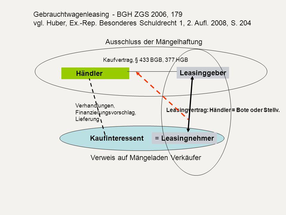 Kaufinteressent Händler Verhandlungen, Finanzierungsvorschlag, Lieferung Leasinggeber Leasingvertrag: Händler = Bote oder Stellv. = Leasingnehmer Kauf