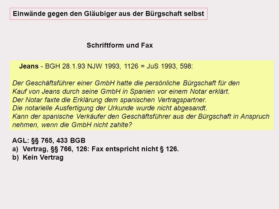 Ausländerbürgschaft - LG Köln 16.4.1986 WM 86, 821; BGH 27.10.94 NJW 95, 190; BGH 15.4.97 BB 1997, 1273 (= 2.