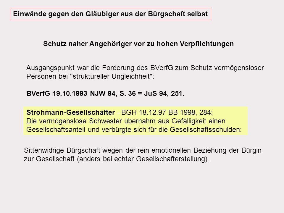 Sittenwidrigkeit der Bürgschaft (§ 138 Abs.